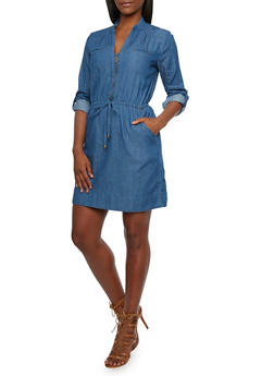 Chambray Dress with Zip V Neck - 3090051062846