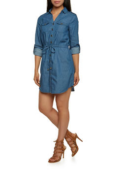 Chambray Button Front Dress - 3090051062848