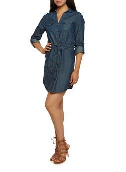 Chambray Shirt Dress with Drawstring Waist - 3090051062848