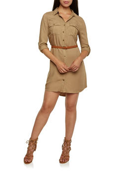 Shirt Dress with Removable Faux Leather Belt - 3090051062851