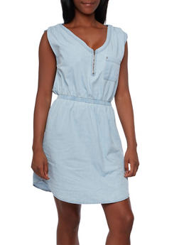 Chambray Dress with Zipper Neckline and Elastic Waist - 3090051062935