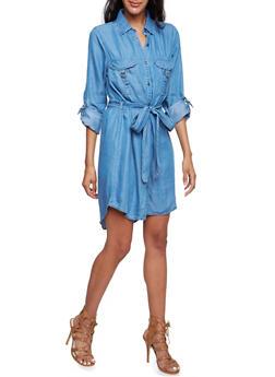Belted Chambray Shirt Dress - 3090051062992