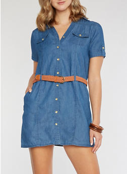 Denim Dress with Braided Belt - 3090051063108