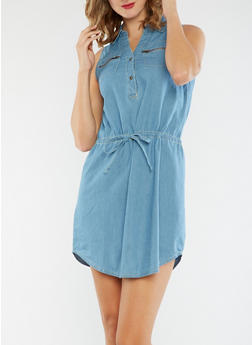 Sleeveless Denim Dress - 3090051063137