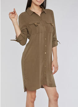 Solid Shirt Dress with Metallic Accents - OLIVE - 3090051063520