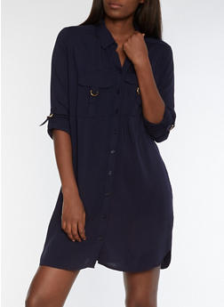 Solid Shirt Dress with Metallic Accents - 3090051063520