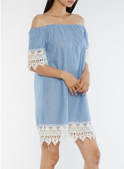Crochet Trim Peasant Dress - 3090056124287