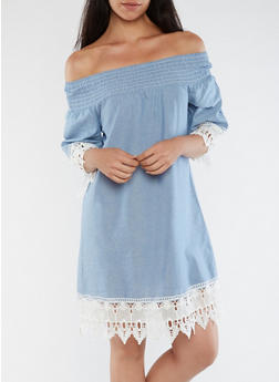 Off the Shoulder Chambray Dress with Crochet Detail - 3090056127630
