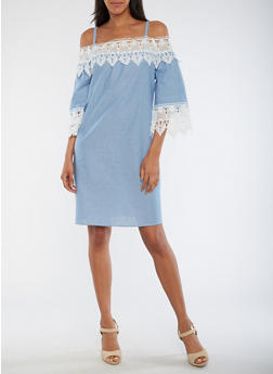 Cold Shoulder Chambray Dress with Crochet Trim - 3090056127631