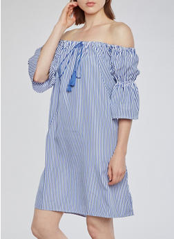 Off the Shoulder Stripe Dress - 3090058930137