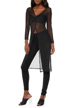 Mesh Long Sleeve Maxi Top - 3090058930811