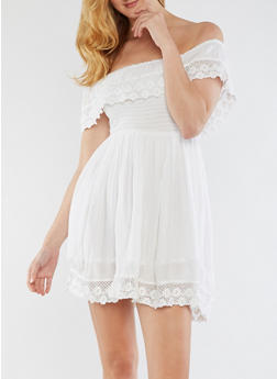 Off the Shoulder Dress with Crochet Detail - WHITE - 3090061638109