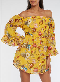 Floral Off the Shoulder Bell Sleeve Dress - 3090068700573