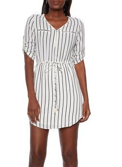 Striped Zip V Neck Dress - 3090069392473