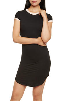 Ringer Tee Dress with Short Sleeves - 3094015050023