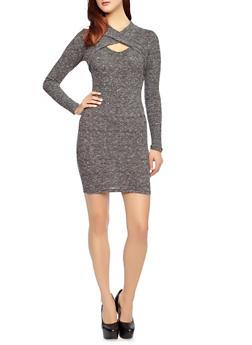 Long Sleeve Mini Sweater Dress with Criss Cross Bodice,BLACK,medium