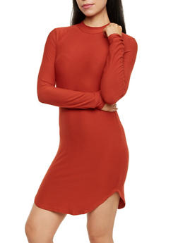 Mock Neck Dress with Long Sleeves - 3094015050269