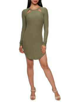 Bodycon Mini Dress with Cutouts - 3094015050272