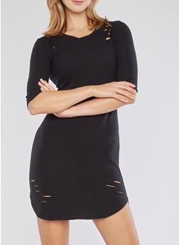 Laser Cut T Shirt Dress - BLACK - 3094015050288