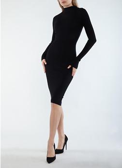 Rib Knit Mock Neck Midi Dress - BLACK - 3094015050293