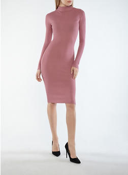 Rib Knit Mock Neck Midi Dress - 3094015050293