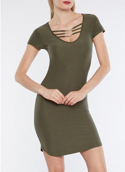 Metallic Accent Caged Neck T Shirt Dress - OLIVE - 3094015050457