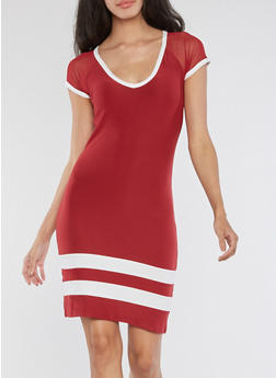 Mesh Cap Sleeve Striped Dress - RED/WHITE - 3094015050466