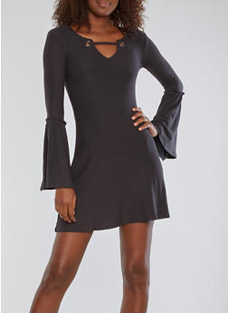 Bell Sleeve Grommet Skater Dress - 3094015050490