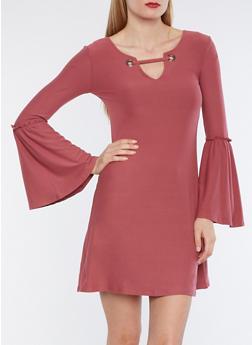 Bell Sleeve Grommet Skater Dress - 3094015050490