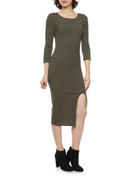 Striped Midi Dress with Slit - 3094015050632