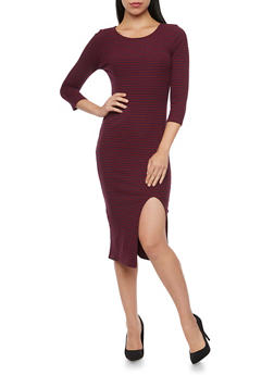 Striped Midi Dress with Slit - WINE - 3094015050632