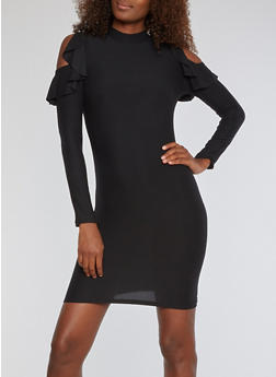 Soft Knit Cold Shoulder Bodycon Dress with Ruffle Details - BLACK - 3094015051187