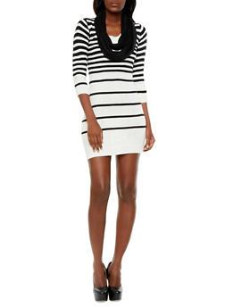 Three Quarter Striped Bodycon Sweater Dress With Infinity Scarf Set,BLACK/WHITE,medium