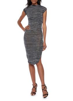 Knit Midi Dress with Back Slit - 3094038341906