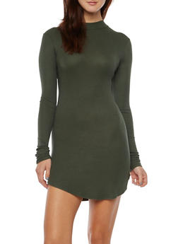 Ribbed Bodycon Dress with Mock Neck - 3094038341908
