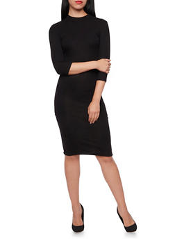 Ribbed Midi Dress with Back Cutout - BLACK - 3094038341909