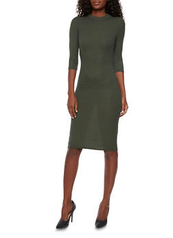 Ribbed Midi Dress with Back Cutout - 3094038341909