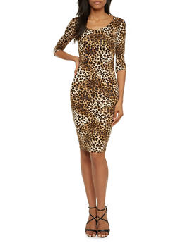 Leopard Print Dress with Scoop Neck - 3094038341916