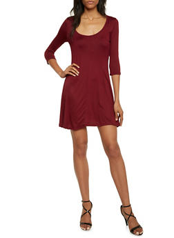 Swing Dress with Three Quarter Sleeves - 3094038341917