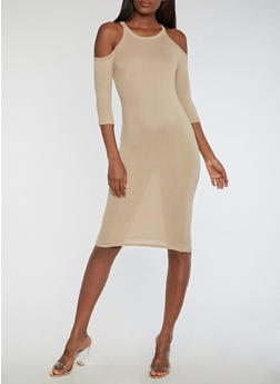 Cold Shoulder Midi Bodycon Dress - 3094038342901