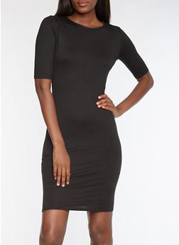 Open Back Bodycon Dress - BLACK - 3094038342941