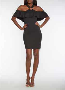 Solid Bodycon Dress with O Ring Overlay - BLACK - 3094038342942
