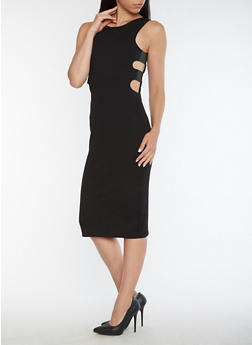 Textured Knit Elastic Caged Side Bodycon Dress - 3094038342971