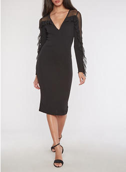 Textured Knit Mesh Yoke Bodycon Dress - 3094038342972