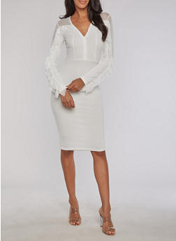 Textured Knit Mesh Yoke Bodycon Dress - IVORY - 3094038342972