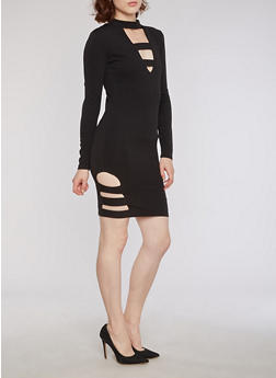 Textured Knit Mock Neck Bodycon Dress with Lattice Details - BLACK - 3094038342973
