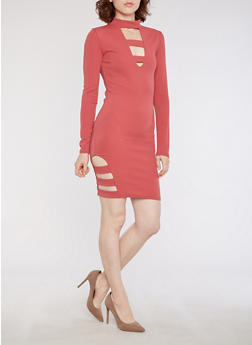Textured Knit Mock Neck Bodycon Dress with Lattice Details - 3094038342973