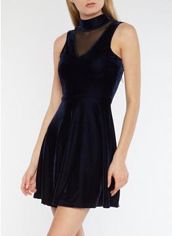 Velvet Mesh Skater Dress - NAVY - 3094038342991
