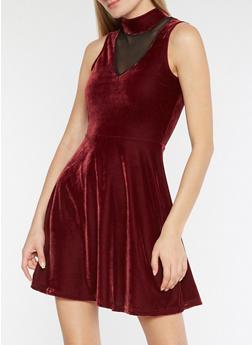 Velvet Mesh Skater Dress - BURGUNDY - 3094038342991