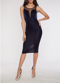 Velvet Mesh Insert Bodycon Dress - 3094038342992